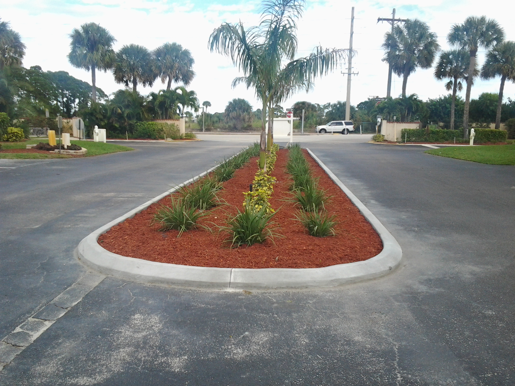 Golf courses, path ways, grass, roadways, decorative, concrete curbing